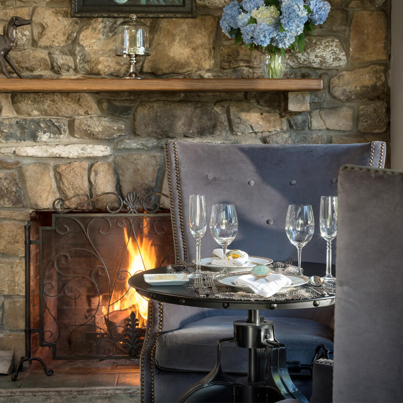 Romantic fireside table