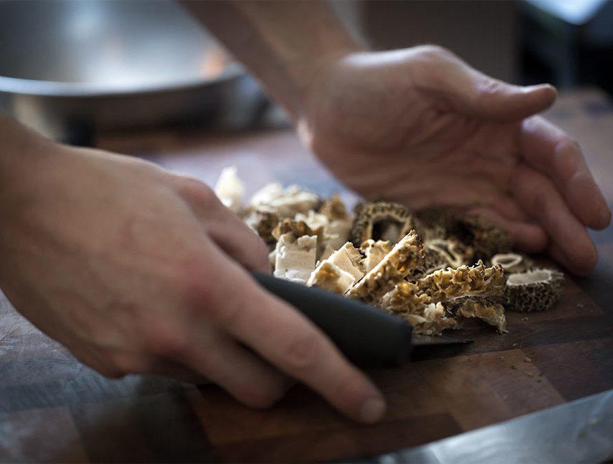 Morel mushrooms being prepared