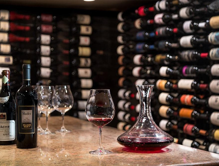 Wine Cellar with red wine in decanter